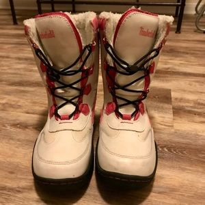 Timberland Girls Pink & White Boots